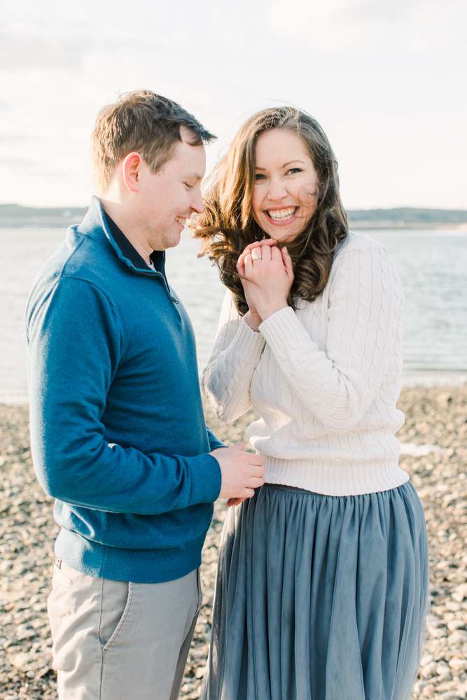 Mackworth Island Proposal Maine Engagement Photography